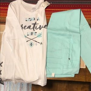 Girls--Size 12-Jean Jeggings and Long Sleeve Shirt